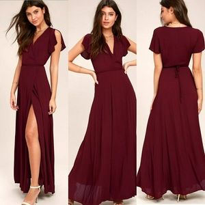 Burgundy Wrap Maxi Dress